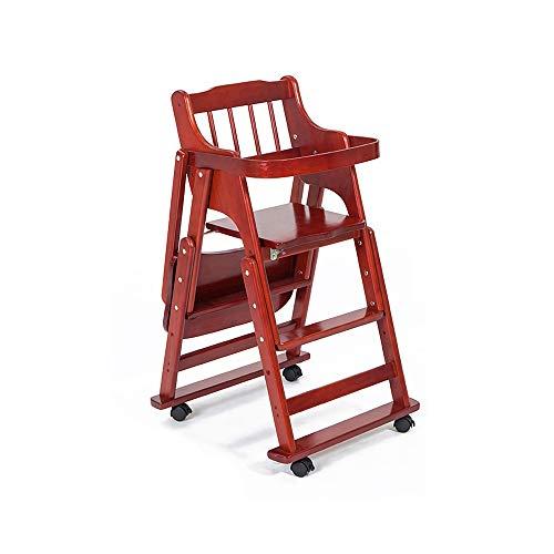Qidi eetkamerstoel voor kinderen met wielen, veiligheidskruk voor baby's, klapstoel, multifunctionele stoel van hout, babytafel, zitvlak van massief hout