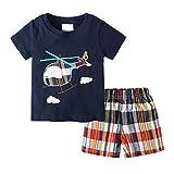 Camiseta con Estampado de Dinosaurio de Manga Corta de Verano para niños, Camiseta + Pantalones, Conjunto Corto de 2 Piezas, Conjunto de Ropa de Dormir para niños, 18-24 Meses