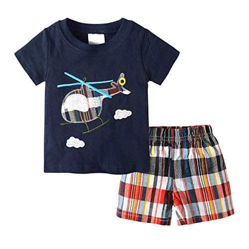 Ropa de niño Lindo para bebés pequeños, Camiseta con Estampado de Dinosaurio de Dibujos Animados de Manga Corta de Verano + Pantalones Cortos 2 Piezas 3-6 Meses