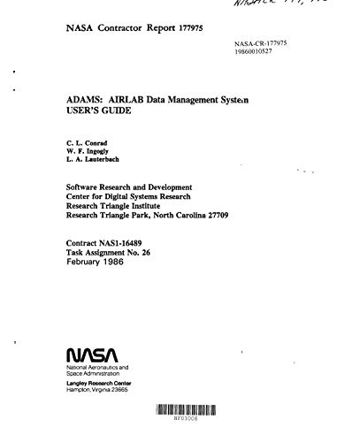 ADAMS: AIRLAB data management system user's guide (English Edition)