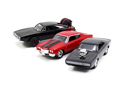 Dom\'s Rides 3 Modellautos Fast & Furious Set Dodge Chevy 1:55 Jada Toys 97426