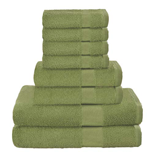 Elvana Home 8 Piece Towel Set 100% Ring Spun Cotton, 2 Bath Towels 27x54, 2 Hand Towels 16x28 and 4 Washcloths 13x13 - Ultra Soft Highly Absorbent Machine Washable Hotel Spa Quality - Green