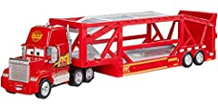 ​Disney Pixar's Cars 3 Mack Hauler.​ ​Loaded with iconic details.​ ​Multiple ways to use and play: as storage, play set and push around toy vehicle. ​Holds up to 15 diecast vehicles.​ Sold separately, subject to availability. ​Ramp to load cars in an...