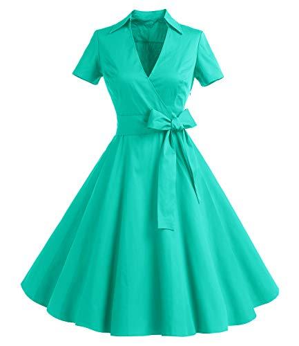 Gonna Vintage Anni 50 60 Audrey Hepburn Vestiti da Cocktail da Donna Elegante di Cotone Manica Corta Tiffany XL