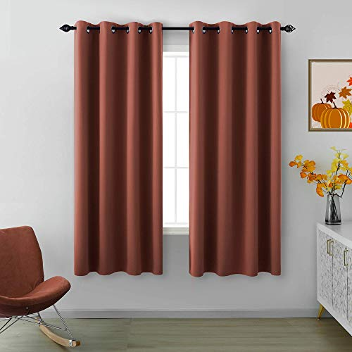 Terracotta Blackout Curtains 63 Inch Length for Bedroom 2 Panels Pair Set Grommet Insulated Thermal Winter Window Home Decor Room Darkening Brick Rust Red Fall Curtains for Living Room 52x63 Long