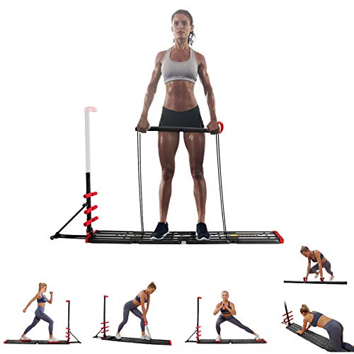 AVAH Portable Home Gym,Foldable Multi-Fit Bench Total Body Training Home Gym with Resistance Bands Bar and Push up Handles Muscle Build Exercise Equipment for Men/Women
