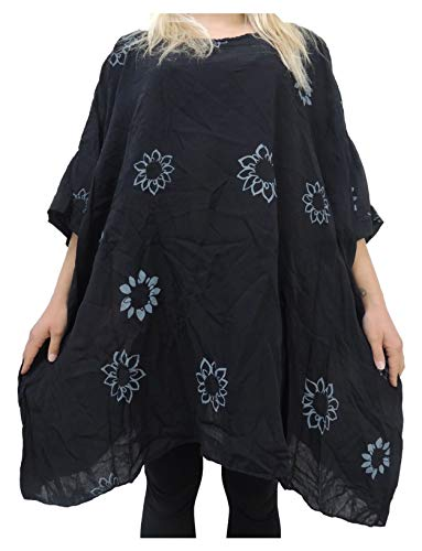 Blusen Shirts mit Blumenmuster Größe 56 58 60 62 (Schwarz)