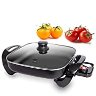 """Ultimate Nonstick Electric Skillet 12"""" Square Aluminum Stamping Fry Pan With 2 Layers Of Non-Stick Interior Coating 
