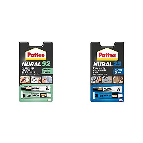 Pattex Nural 92 Pegamento reparador de plásticos, cola transparente para reparar y pegar plástico + Nural 25 Pegamento extra fuerte auto, adhesivo resistente