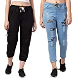 Aglobi Women's Ankle Lenght Denim Jeans/Cargo Joggers Combo Pack. (28 to 30, Black,LightBlue(Star))