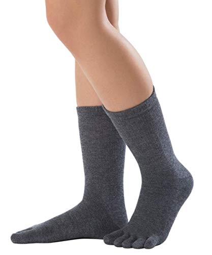Knitido lange Zehensocken Cotton und Merino Melange aus Baumwolle & Merino, Größe:39-42, Farbe:Charcoal (103)