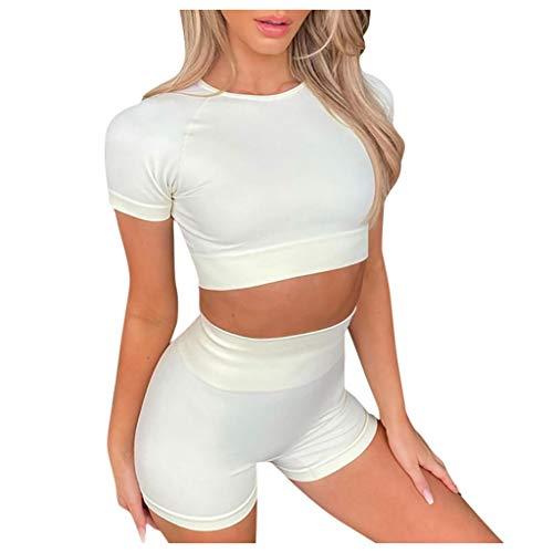 YANFANG Moda para Mujer Sexy Sólido Chaleco de Yoga Deportes Conjunto de Fitness Tops elásticos + Pantalones,White,S