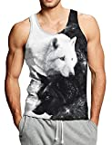 Goodstoworld Hombres Tank Top Sport Camiseta Sin Mangas Impresión 3D Lobo Blanco Camisetas de...