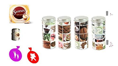 Senseo Geschenkset, 4-tlg., Café Latte Kakaostreuer 4er Set Vintage Paddosen & Schablone