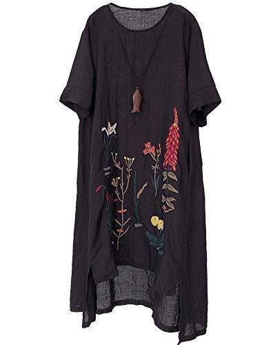 Mallimoda Damen Rundhals Kurzarm Sommerkleid Embroidery Leinen Kleider Art 1-Schwarz XXL