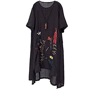 Women's Embroidered Linen Dress Summer A-Line Sundress Hi Low Tunic