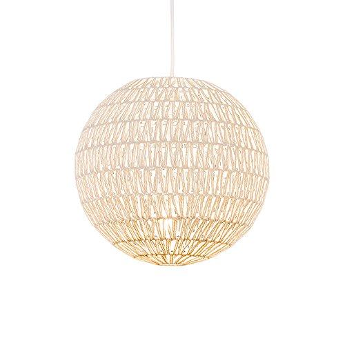 QAZQA Design/Modern/Retro Retro Hängelampe weiß 40 cm - Lina Ball 40 / Innenbeleuchtung/Wohnzimmerlampe/Schlafzimmer/Küche Textil/Stahl Kugel/Kugelförmig LED geeignet E27 Max. 1 x 60 Watt