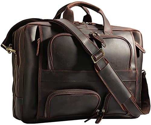 Polare Men's 17' Full Grain Leather Briefcase Business Messenger Bag Tote with YKK Metal Zippers