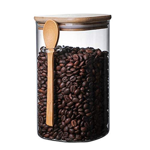 Dasing 1200 Ml mit L?Ffel Versiegeltes Glas Lagertank GewüRz Kaffee Bohnen Tank KüChen Bedarf Zucker Lager Flasche Tee Kiste L.