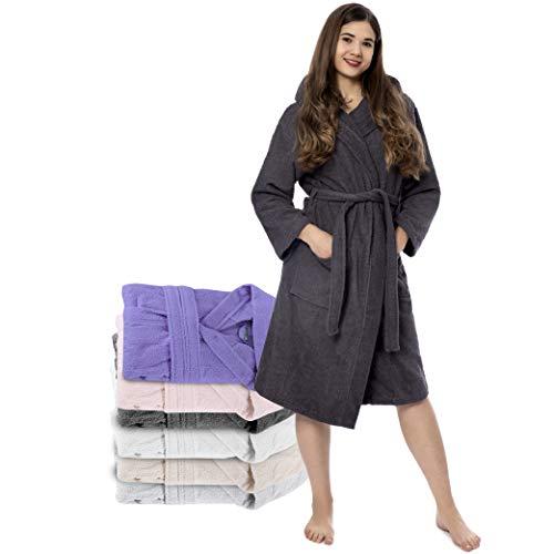 Twinzen Bata Mujer, Albornoz de baño (XL, Gris Oscuro) - Oeko Tex, No Producto Químico - Albornoz de Algodón con Capucha, 2 Bolsillos, Cinturón para Mujer - Bata Baño Suave, Absorbente y Cómoda
