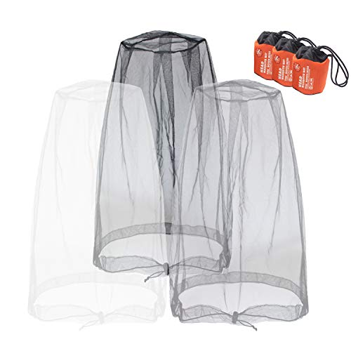 Mosquito Head Nets Gnat Repellant Head Netting for No See Ums Insects Bugs Gnats Biting Midges from Any Outdoor Activities, Works Over Most Hats Comes with Free Stock Pouches (3pcs, Grey+Black+White)