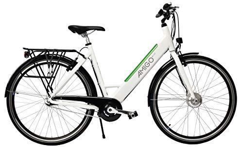 Amigo E-Line - Elektrofahrrad für Damen - E-bike 28 Zoll - Sturmey Archer 3-Gang - Nabenschaltung - 250W und 8.7Ah, 36V Li-ion-Akku - Weiß