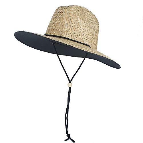 Bin Zhang 2019 Nouveau Chapeau de Paille Soleil Chapeaux Filles Grand Bord été Boater Beach Ruban Rond Plat Top Beach Lifeguard Hat (Couleur : Naturel, Taille : 56-58CM)