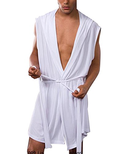 Pijamas para Hombre Ropa para Helado Sexy Gorro De Verano Y Otoño Albornoz para La Marea Ropa Interior Delgada sin Mangas Blanco L