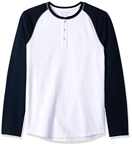 Amazon Essentials - Camiseta ajustada Henley de manga larga para hombre, Blanco (White/Navy), US M (EU M)