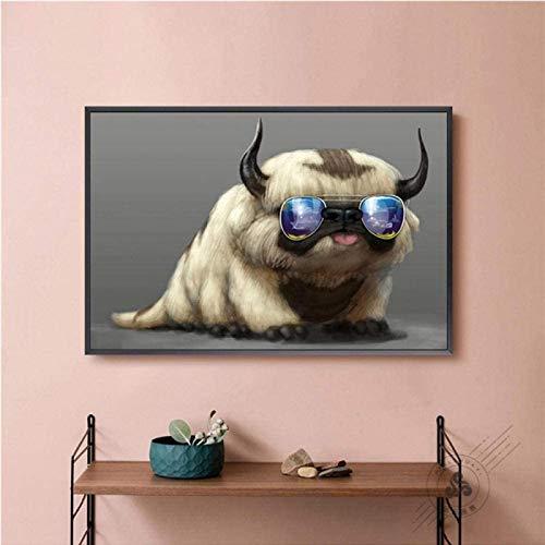 XingChen Lienzo decorativo para pared de 60 x 80 cm, sin marco, diseño de perro hippie con gafas de sol, bonito animal para el hogar de los niños