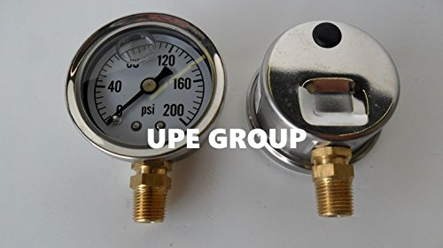 """NEW STAINLESS STEEL LIQUID FILLED PRESSURE GAUGE WOG WATER OIL GAS 0 to 200 PSI LOWER MOUNT 0-200 1/8"""" NPT 1.5"""" FACE DIAL FOR COMPRESSOR HYDRAULIC AIR TANK PRESSURE WASHER"""