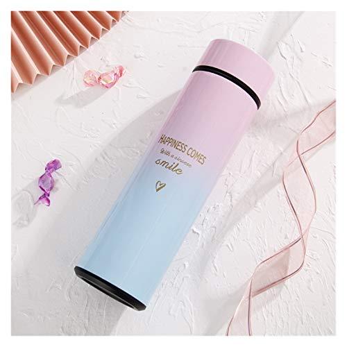 FUBINMY Botella térmica Botella de 500 ml de Agua Termo Inteligente con LED Digital Pantalla de Temperatura Inteligente Termo Copa Inoxidable (Capacity : 500ML, Color : Pink)