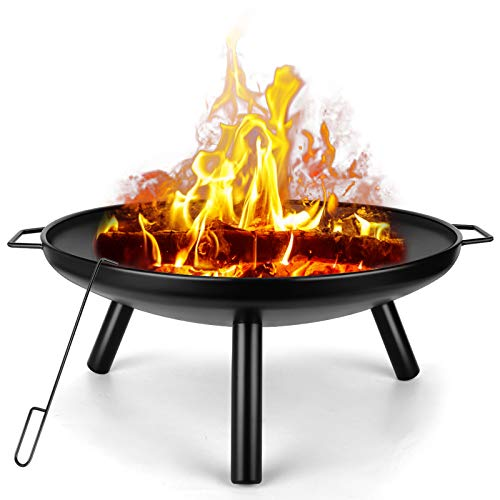 """SUNLIFER Wood Fire Pits Outdoor: 24"""" Wood Burning Patio Fire Pit Bowl   Steel BBQ Camping Firepit Outside Backyard Fireplace for Bonfire Garden Beaches Picnic"""