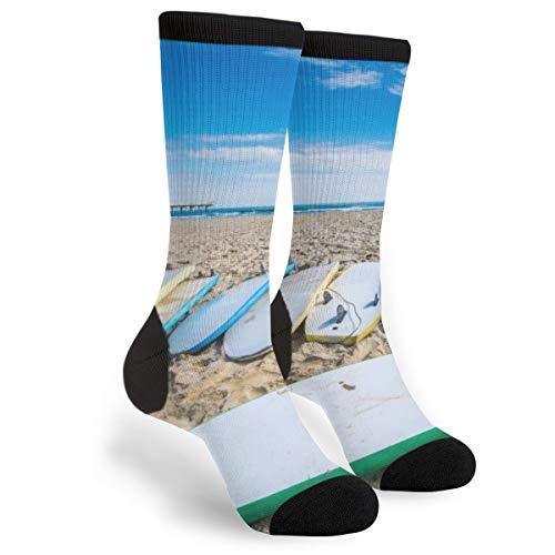 Surf Board Dress Socks For Men & Women,Colorful Funny Crazy Novelty Fun Dress Socks