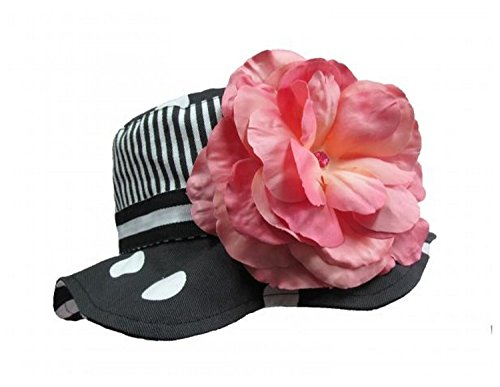 Black White Dot Sun Hat with Candy Pink Large Rose, Size: 4-6y