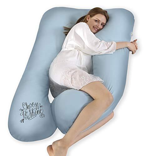 SALAD HOUSE U-förmiges Schwangerschaftskissen Seitenschläferkissen Lagerungskissen mit Abnehmbarem und Waschbarem 100% Baumwolle 320TC Stickerei Design (Starlight Blue, 140 x 80 cm)