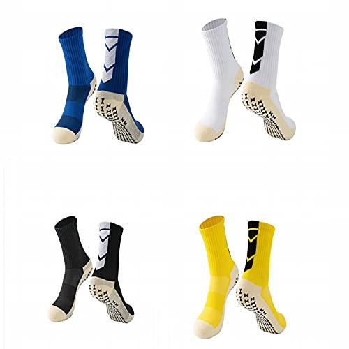 ZJKJ Calcetines De Fútbol Cortos para Adultos Hombres Toalla Dispensadora con Fondo Antideslizante Calcetines Deportivos De Entrenamiento De Competición(4 Pares)