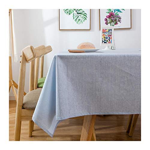 LXWS Mantel de Lino de algodón, Cubierta de Mesa Rectangular Impermeable, Mantel Simple y Moderno para Cocina, Comedor, Fiesta al Aire Libre, decoración de Mesa,Blue1-60x60