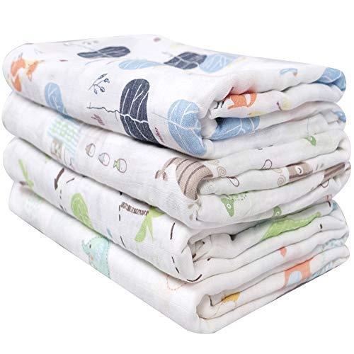 Softan Mantas Swaddle Bebé de Envoltura,Muselina Bambú 120x120cm,mantas para bebes