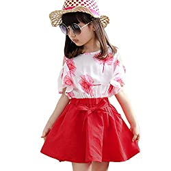 Yuzikou Girls Cotton Stylish Red Cold Shoulder Top and Skirt Set Red