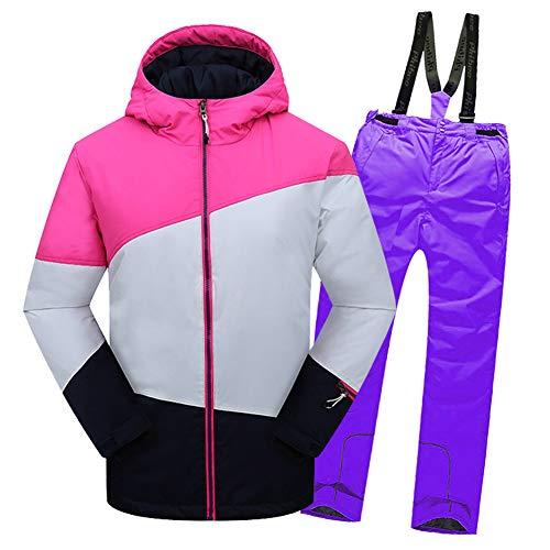 LSEHL Kinderskianzug Skijacke + Skihose für Mädchen & Jungen, Rosa Top + Violett Hose, 134/140