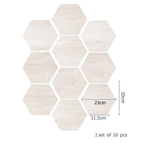 SMXGF 10 stuks Hexagon Tegel Sticker PVC Muursticker Zelfklevend Floor Sticker (Color : Green)