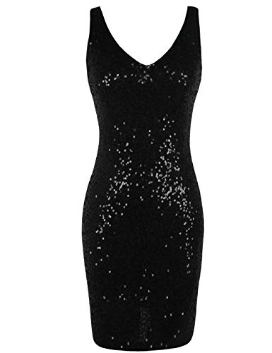 PrettyGuide Women's Sequin Cocktail Dress V Neck Bodycon Glitter Party Dress M Silver/Champagne/Coffee