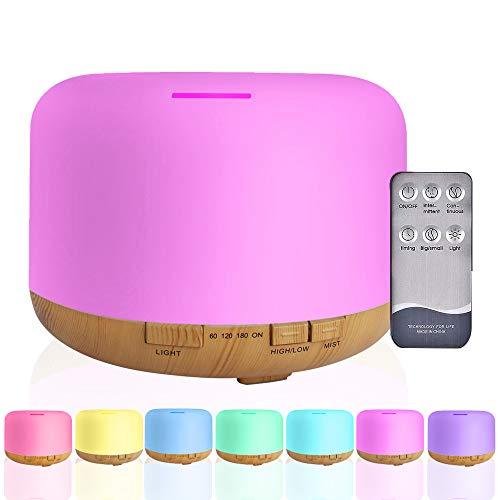 Humidificador y Difusor de Aromas Ultrasónico Capacidad de 500mL, 7 Colores de Luz LED dos modos, Temporizador, Control Remoto,...