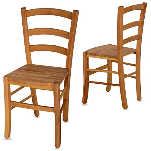 Staboos 2er Set Esszimmerstühle Holz-Stuhl CH71 - bis 150 kg - Buche geölt - Holzstühle Esszimmer - Küchenstühle Holz