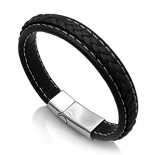 Autiga Edles Leder-Armband für Herren, breit mit Rindsleder und geflochtener Oberfläche schwarz 19,5 cm