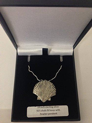 Sea Shell PP-G24 - Emblema de peltre inglés en un collar de plata de ley 925 de 45,7 cm