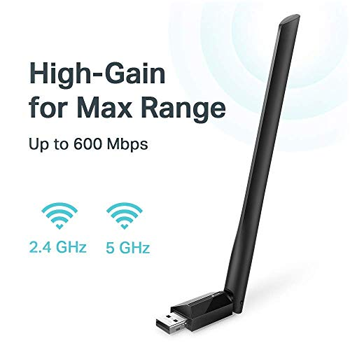 TP-Link USB Wifi Adapter for PC AC600Mbps Wireless Network Adapter for Desktop with 2.4GHz/5GHz High Gain Dual Band 5dBi Antenna, Supports Windows 10/8.1/8/7/XP, Mac OS 10.9-10.14 (Archer T2U Plus)