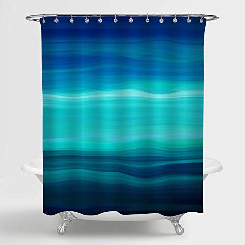 """MitoVilla Blue Green Ombre Striped Shower Curtain, Abstract Ocean Waves Geometric Art Print Bathroom Accessories for Contemporary Home Decorations, Navy, Aqua Blue, Turquoise, Teal, 72"""" W x 72"""" L"""
