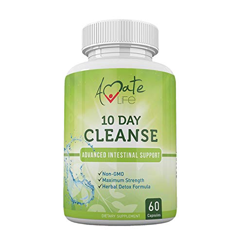 10 Day Intestinal Cleanse Supplement for Humans - Colon Cleanse & Detox with Black Walnut, Wormwood Powder & Cranberry Extract - Dietary Supplements for Men & Women - Non-GMO 60 Capsules - Amate Life